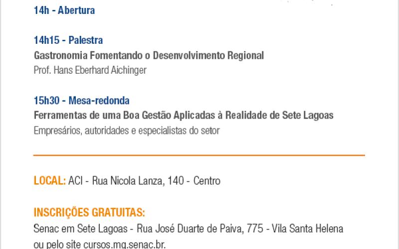 Senac traz evento sobre gastronomia e Hotelaria em Sete Lagoas