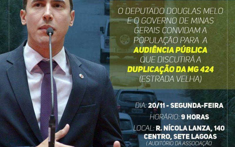 Douglas Melo convida a população a participar da audiência pública para duplicação da MG 424