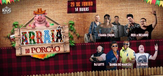 Rick e Ricardo, Chama Chuva e Banda do Marcão   se apresentam neste sábado no Arraiá do Porcão