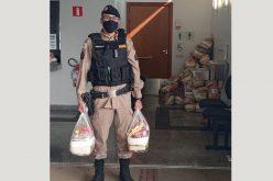 Em parceria, PM e Ministério público entregam cestas bacias à população carente em Matozinhos